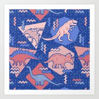 Nineties Dinosaurs Pattern  - Rose Quartz and Serenity version Art Print