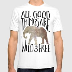 All Good Things Are Wild And Free SMALL White Mens Fitted Tee