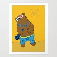 Bearkulele in 3-D Art Print