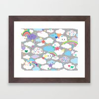 Clouds and Rainbows Kawaii Framed Art Print