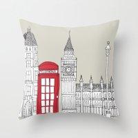 London Red Telephone Box Throw Pillow