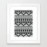 Aztec Pattern 2 Gray & Black Framed Art Print
