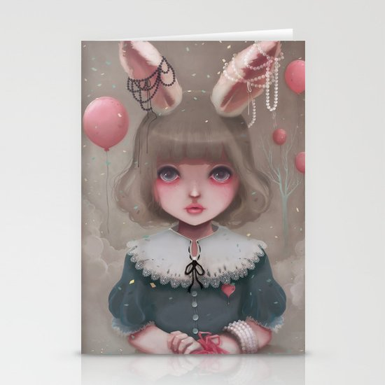 Juliette, balloons & pearls... Stationery Card