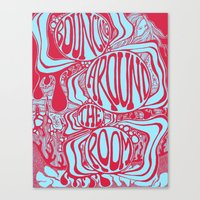 Bouncing Around the Room in Red and Blue Canvas Print