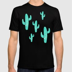 Linocut Cacti Candy SMALL Mens Fitted Tee Black