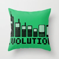 Cell Phone Evolution Throw Pillow