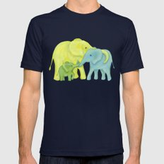 Elephant Family of Three Mens Fitted Tee Navy SMALL