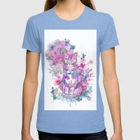 Purple kitten Womens Fitted Tee Tri-Blue SMALL