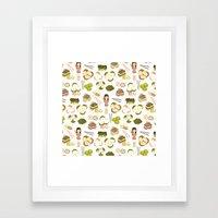 Dim sum pattern Framed Art Print