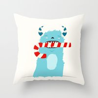 December Monsters: Candy Cane Throw Pillow