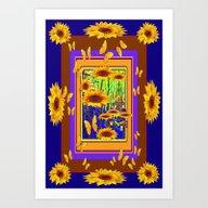 Golden Sunflower Purple-… Art Print