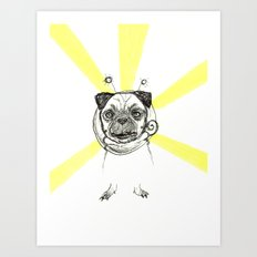 Pug in Space Silly Doodle Art Print