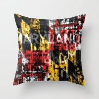 Maryland Flag Print Throw Pillow