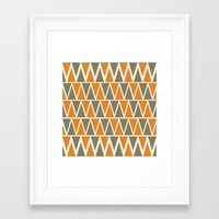 Green And Orange Triangles  Framed Art Print