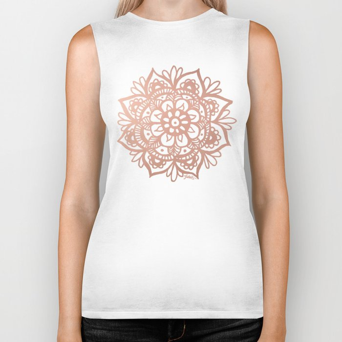 rose gold mandala biker tank top