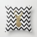Glitter Deer Silhouette with Chevron Throw Pillow