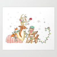 Woodland Winter Friends Art Print