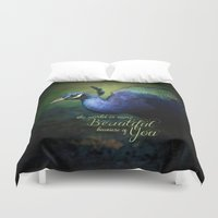 The World is More Beautiful Because of You Peacock Art Duvet Cover