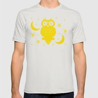 Owl Moon Starry Nights Mens Fitted Tee Silver SMALL