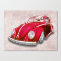 VW Beetle Red Canvas Print