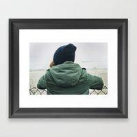 girl on beach. Framed Art Print