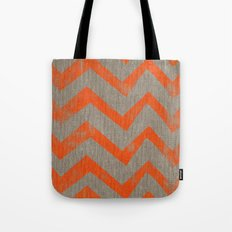 Orange chevron on linen Tote Bag