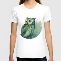white T-shirts featuring Green Owl by Teagan White