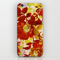 Floral In Red iPhone & iPod Skin