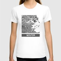 boston T-shirts featuring Boston map by Map Map Maps