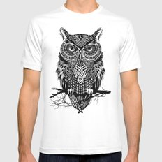 Warrior Owl 2 SMALL White Mens Fitted Tee