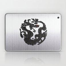 Black Oriental Dragon on Silver Laptop & iPad Skin