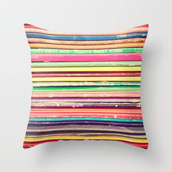 Vinyl Throw Pillows : Vinyl III Throw Pillow by Laura Ruth Society6
