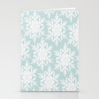 Wedgewood Blue Winter Christmas Snowflake Design Stationery Cards