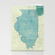 Illinois Map Blue Vintag… Stationery Cards