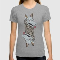 Wolf Head Totem Womens Fitted Tee Tri-Grey SMALL