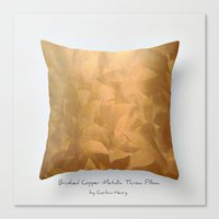 Brushed Copper Metallic Throw Pillow Art Print Canvas Print