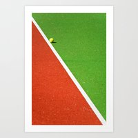 Red, green, white line and yellow tennis ball Art Print