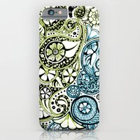 Blue Lime Paisley iPhone 6 Slim Case