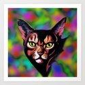 Cat Portrait Watercolor Art Paint Style Art Print