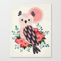 Owl and Blossoms Canvas Print