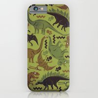 iPhone & iPod Case featuring Camouflage Dinosaur Geometric Pattern by chobopop