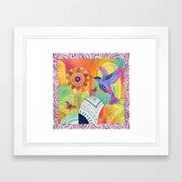 Indigo Hummingbird Framed Art Print