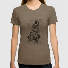 Tattoo style owl with top hat and rose. Rockabilly style.  Womens Fitted Tee Tri-Coffee SMALL