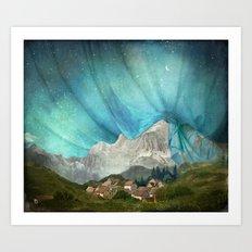 An den Bergen hing die Nacht Art Print