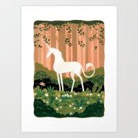 unicorn Art Prints featuring Unicorn by Joy Ang