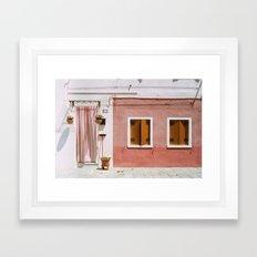 Sunny pink house Framed Art Print