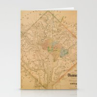 Civil War Washington D.C. Map Stationery Cards