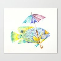 Fishy Fish - Original Watercolor of Yellow Mask Angel Fish with Umbrella Canvas Print