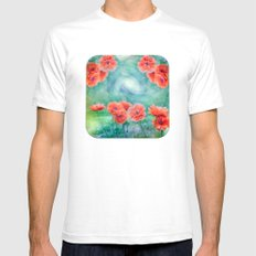 Poppies White Mens Fitted Tee SMALL