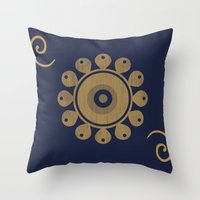 Wooden Flower Throw Pillow